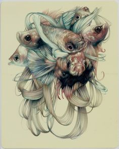 """by Marco Mazzoni (b1982, Milan)        """"The Tailors""""2013, colored pencils and ink on moleskine paper, cm 26x21"""