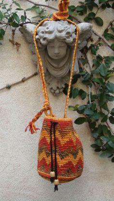 Vtg BoHo HiPPiE Festival Chevron CoTToN Crochet Messenger Bag Sling Sack Purse #Handmade #MessengerCrossBody
