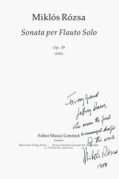 Title page of the Sonata for Solo Flute by Miklos Rozsa autographed by the composer
