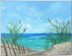Tropical beach, ocean painting with turquoise water, sand dunes, sea grass, fence, and seagulls. 11x14 happy Caribbean beach painting by TheEscapeArtist on Etsy