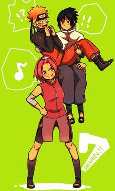 lol so cute~ Naruto, Sasuke, and Sakura