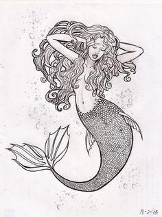 i like this idea for a mermaid tattoo. Easy Mermaid Drawing, Mermaid Drawings, Mermaid Tattoos, Mermaid Art, Mermaid Sketch, Girl Drawings, Drawing Faces, Real Mermaids, Mermaids And Mermen
