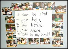 """these very first """"I Can"""" statements! (Shared by Carolyn at Kindergarten: Holding Hands and Sticking Together.)Love these very first """"I Can"""" statements! (Shared by Carolyn at Kindergarten: Holding Hands and Sticking Together. Reggio Emilia Classroom, Reggio Inspired Classrooms, Reggio Classroom, Classroom Posters, Classroom Displays, Kindergarten Classroom, Classroom Ideas, Reggio Emilia Preschool, Early Years Classroom"""