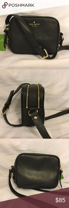 """Kate Spade Mulberry Street Pyper Crossbody Black Kate Spade Mulberry Street Pyper Crossbody Bag in Black. Pebble leather. Two separate compartments; one has a slip pocket. Strap adjustable for shoulder or crossbody use. 7"""" L x 5"""" H x 2.75"""" D; strap drop = adjustable to 23"""" kate spade Bags Crossbody Bags"""