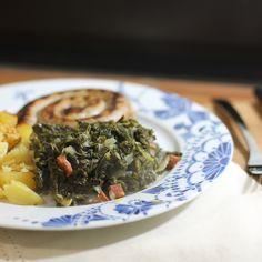 Bratwurst with Kale and chorizo