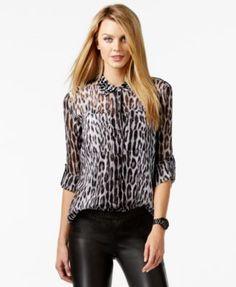 MICHAEL Michael Kors Sheer Animal-Print Shirt