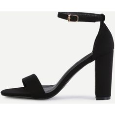 SheIn(sheinside) Black Peep Toe Ankle Strap Sandals (€31) ❤ liked on Polyvore featuring shoes, sandals, black, black peep toe sandals, chunky-heel sandals, ankle tie sandals, black chunky sandals and black high heel shoes