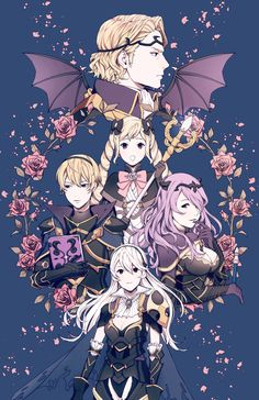 Fire Emblem: Fates - Conquest. The Nohrian royal siblings: Xander, Elise, Leo, Camilla, and Corrin