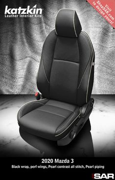 - This is a 2020 Mazda 3 seat with Black wrap, perf wings, Pearl contrast all stitch, Pearl piping. Leather Kits, Custom Leather, Real Leather, Automotive Upholstery, Car Upholstery, Camo Gear, Leather Seat Covers, Popular Colors, Mazda 3