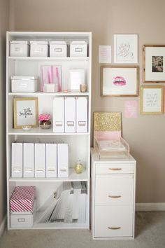 One chic office space… keeping everything one colour stops the shelves looking cluttered and makes if a beautiful space to work in