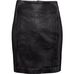 H&M Leather skirt ($75) ❤ liked on Polyvore featuring skirts, bottoms, black, h&m, leather, real leather skirt, h&m skirts, leather skirt and knee length leather skirt