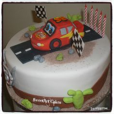 DISNEY CARS CAKE For more information & orders, email SweetArtBfn@gmail.com or call 0712127786.  Connect with me on Facebook at www.facebook.com/SweetArtCakesBfn Cupcake Toppers, Cupcake Cakes, Cupcakes, Disney Cars Cake, Lightning Mcqueen, Birthday Cakes, Planes, Fondant, Trains