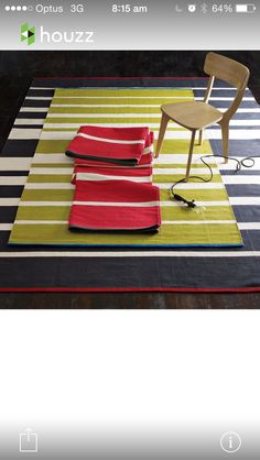 Green and cream stripe runner for entry way