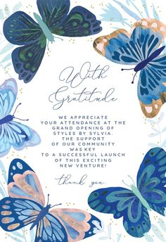 Blue Butterflies - Thank You Card #greetingcards #printable #diy #thankyou #notes #thanks Butterfly Birthday, Blue Butterfly, Thank You Card Template, Thank You Cards, Grandparents Day Cards, Art Nouveau Pattern, 24th Birthday, Birthday Invitation Templates, Printable Cards