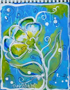 ART-JOURNAL-paint-ink-mixed-media-sketchbook-flower by inkstitch, via Flickr