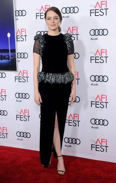 Emma Stone en Armani Privé à la première du film La La Land à l'AFI Fest à Los Angeles le mardi 15 novembre 2016