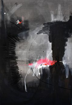 Federico Saenz-Recio, Argentinian artist has some really great pieces of moody art with pops of color in the black and white abstracts