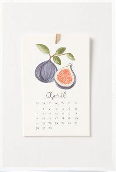 Watercolor Fruit Calendar