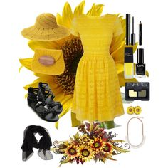 """Sunflower for a friend."" by thegirlwhono-oneknows on Polyvore"