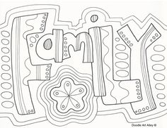 Family Doodle Coloring Page Zentangle Word Wuote