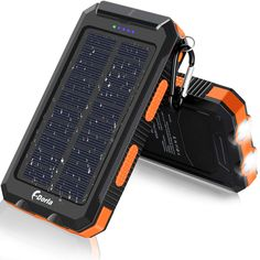 Solar Charger, F.Dorla Portable Outdoor Waterproof Solar Power Bank, Camping External Backup Battery Pack Dual USB Ports Output, 2 Led Light Flashlight with Compass (Orange) Solar Battery Charger, External Battery Charger, Portable Solar Power, Portable Charger, Batman Armor, Bright Led Flashlight, Cell Phone Accessories, Compass, Usb