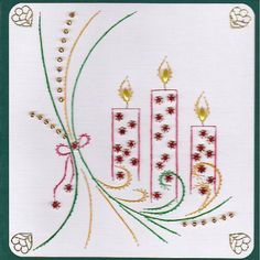 ED072 X mas candles on Craftsuprint designed by Emy van Schaik - made by   - Stitching with beads and spacers. Use cardstock for stitching. I used rice beads, spacers and pearls.I liked making this card. - Now available for download!