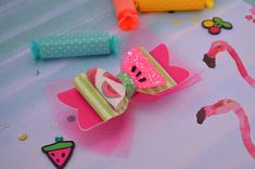 Summer Bow Watermelon Bow Neon hair bow Fruit Bow mix and Baby Bows, Baby Headbands, Bright Hair Colors, Colourful Hair, Diy Leather Bows, Dipped Hair, Neon Hair, Felt Bows, Bow Accessories
