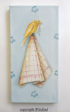 'A CANARY IN THE KITCHEN'. Bird painting original still life art by 4WitsEnd, VIA Etsy