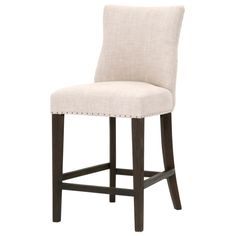 "Landes 26"" Counter Stool - Bisque French Linen + Java"