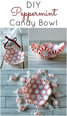 Cheap DIY Christmas Decor Ideas and Holiday Decorating On A Budget - DIY Peppermint Candy Bowls - Easy and Quick Decorating Ideas for The Holidays - Cool Dollar Store Crafts for Xmas Decorating On A Budget - wreaths, ornaments, bows, mantel decor, front door, tree and table centerpieces - best ideas for beautiful home decor during the holidays http://diyjoy.com/cheap-diy-christmas-decor