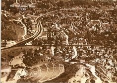 Whitley Heights and Hollywood Bowl, 1930 The Hollywood Bowl, Hollywood Sign, Vintage Hollywood, Night Whispers, Hollywood Hills Homes, San Fernando Valley, Hollywood Boulevard, Side Yards, Going On Holiday