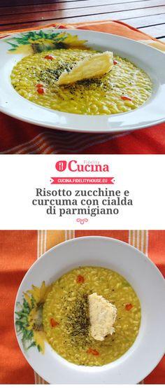 Risotto zucchine e curcuma con cialda di parmigiano