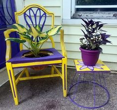 Turn an old lamp into an adorable table for your patio