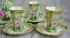 RS Prussia Chocolate Set Large Pot 6 Cup Saucer Sets