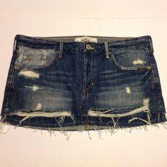 NWT HOLLISTER Size 9 Denim Jean Mini Skirt Distressed Dark Wash Patches $45 #Hollister #Mini