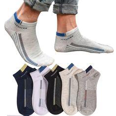 Underwear & Sleepwears Summer Pure Cotton Mesh Men Short Sock Simple Solid Sports Ankle Sock