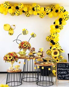 Bee Balloons, 70 Pcs 10 Inch Yellow Balloons Yellow Polka Dot Balloons Black Balloons Yellow Party Decorations, Bee Decorations for Bee Party, Bee Baby Shower, Bee Birthday Party Yellow Party Decorations, Bumble Bee Decorations, Baby Party, Baby Shower Parties, Baby Shower Themes, Polka Dot Balloons, Latex Balloons, Yellow Balloons, Bumble Bee Birthday