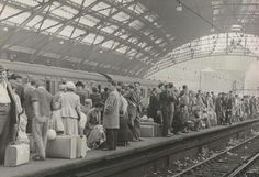 Liverpool, Lime Street Station, 1955. From the crowds and luggage these are probably holiday makers heading for the Isle of Man.