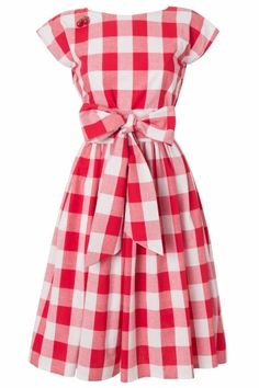 House of Dots - 50s Cherry Sue BBQ Dress in Red White Gingham