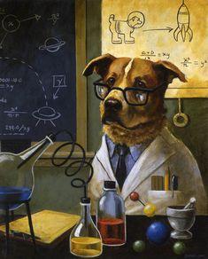 Chien Portrait Estampe Art de chien Pet par CuriousPortraits