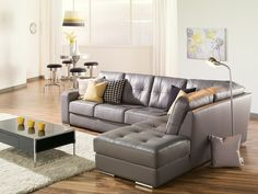 Small scale for condo living this Pachuca sectional by Palliser Furniture is modern and stylish.