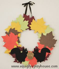 Make this fun leaf wreath with your kids to welcome the arrival of autumn. Templates for the leaves, squirrel and nut are provided. Welcome fall!