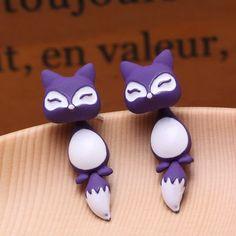 Cute Fox Earrings - Purple