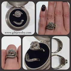 A unique and practical 1950's wedding set with just over .50 carat total weight of diamonds in 14k white gold. $1395. Call to purchase. #giltjewelry #wedding #bridal #engagement #weddingring #engagementring #sparkle #diamond #vintage #vintagejewelry