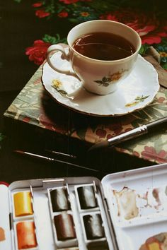 Yes...this would be me when I watercolor! Tea or coffee always near by. :-)