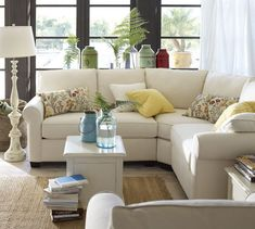 I want !  Buchanan Curved 3-Piece Small Sectional with Wedge | Pottery Barn