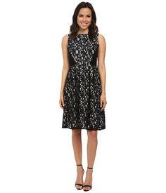 ab199792fc110 Calvin Klein - Black Lace Fit   Flare Dress - Lyst