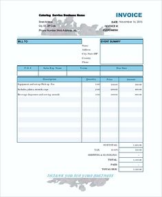 catering bill invoice catering invoice template catering invoice template free to download as you - Invoice Template Free