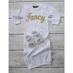 Baby Girls I'm So Fancy White and Gold Glitter Gown and Hat Set