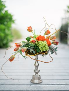 Orange signifies enthusiasm and passion. The floral arrangement made of tulips, hydrangeas, roses, and seeded eucalyptus resembles cupid's arrow. Flower Baskets, Seeded Eucalyptus, Hydrangeas, Floral Designs, Tulips, Floral Arrangements, Envy, Arrow, Florals